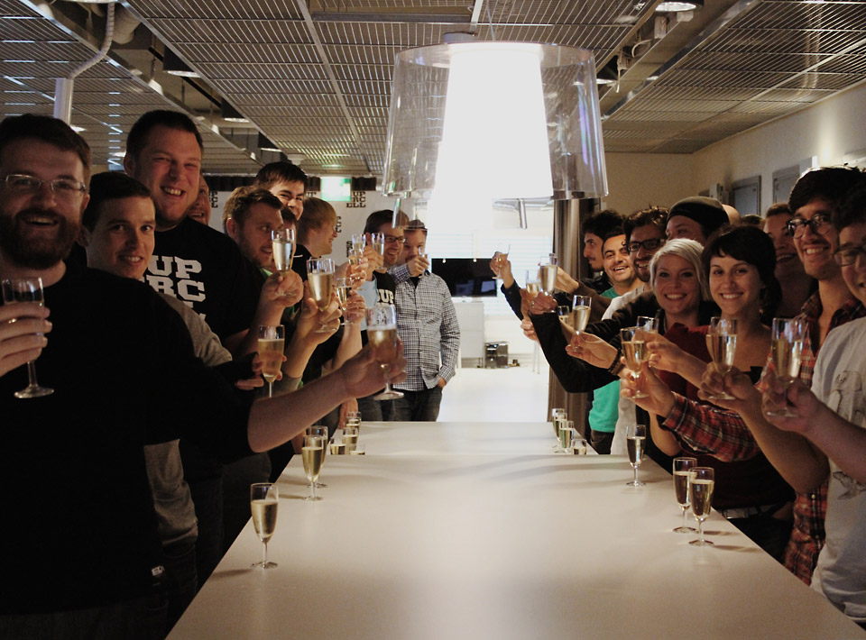 Champagne celebration at the office.